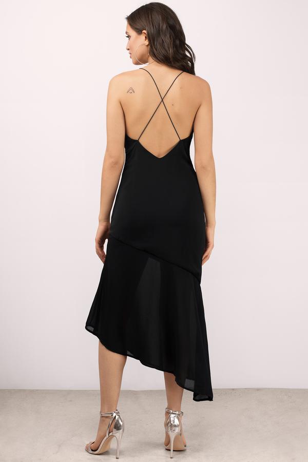 c7ea6250c6 Black Dress - Cross Back Dress - Midi Flare Dress - Midi Dress ...