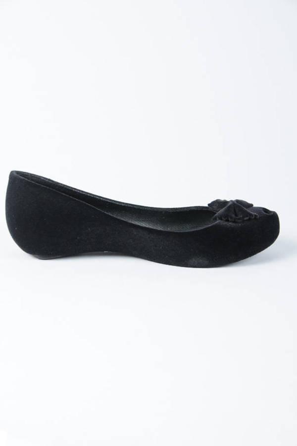 4cf10f11e Black Melissa Flats - Bow Tie Flats - Black Recycled Round Flats ...