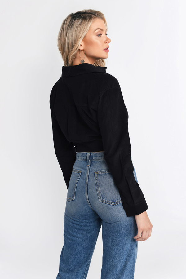 6b9f50f631 Black Shirt - Knot Front Crop Top - Black Corduroy Shirt - $21 | Tobi US