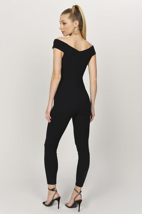 dc69ee44c1a19 Black Jumpsuit - Skinny Leg Jumpsuit - Black Off Shoulder Jumpsuit ...