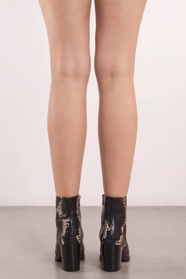 14ec2b4987d Black Steve Madden Boots - Snakeskin Booties - Black Chunky Heel ...