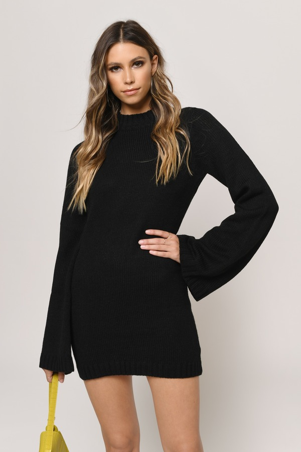 65b89e075df Cute Black Dress - Bell Sleeve Dress - Long Sleeve Dress - S  56 ...