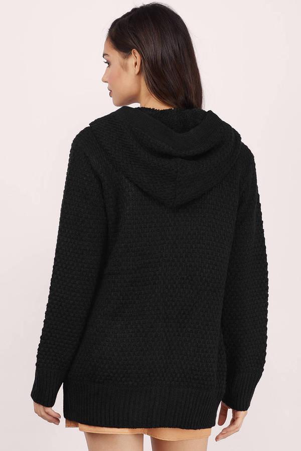 Black Cardigan - Hooded Cardigan - Button Up Cardigan - Sherpa ...