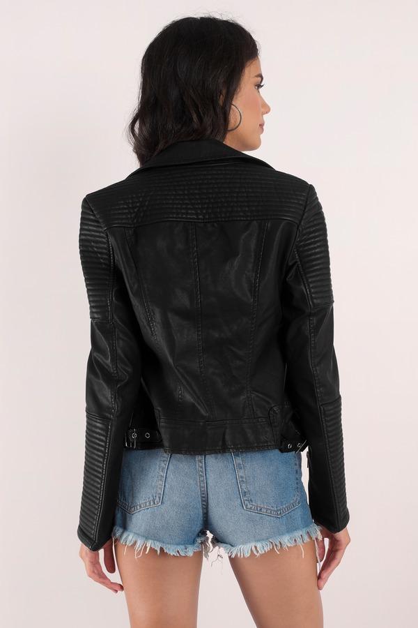 Black Jacket - Moto Jacket - Quilted Jacket - Faux Leather Jacket ...