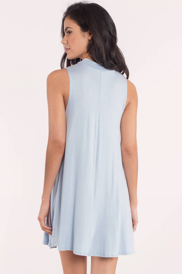 Cute Blue Shift Dress - Mock Neck Dress - $56.00