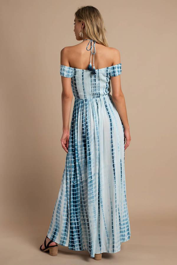 c9e1a2b2767a0 Trendy Blue Maxi Dress - Open Shoulder Maxi Dress - Blue Tie Dye ...