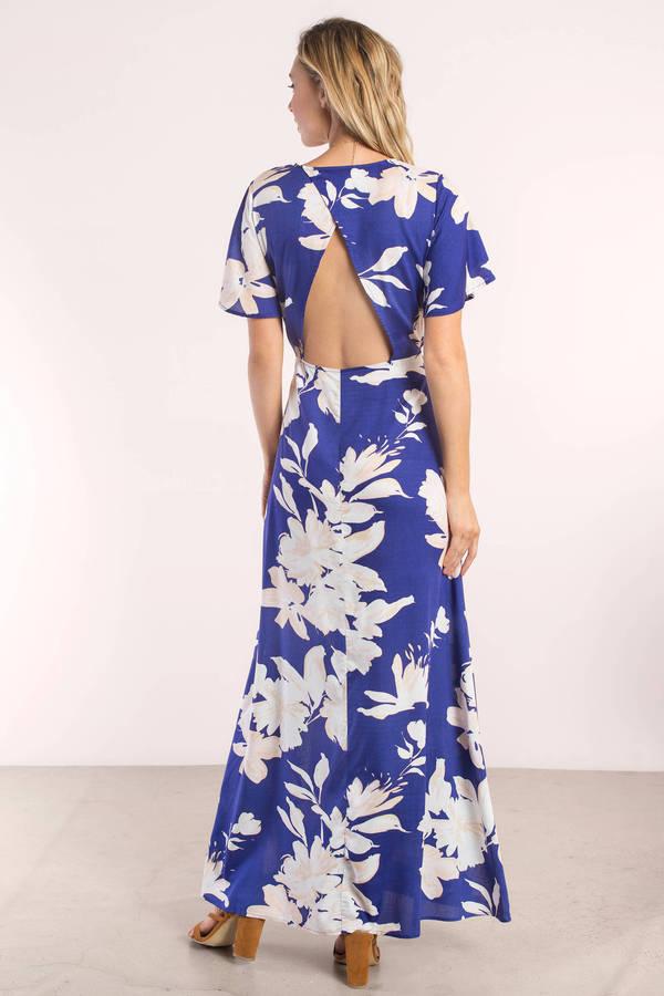 d25439c81b Trendy Blue Maxi Dress - Tropical Maxi Dress - Blue Resort Dress ...