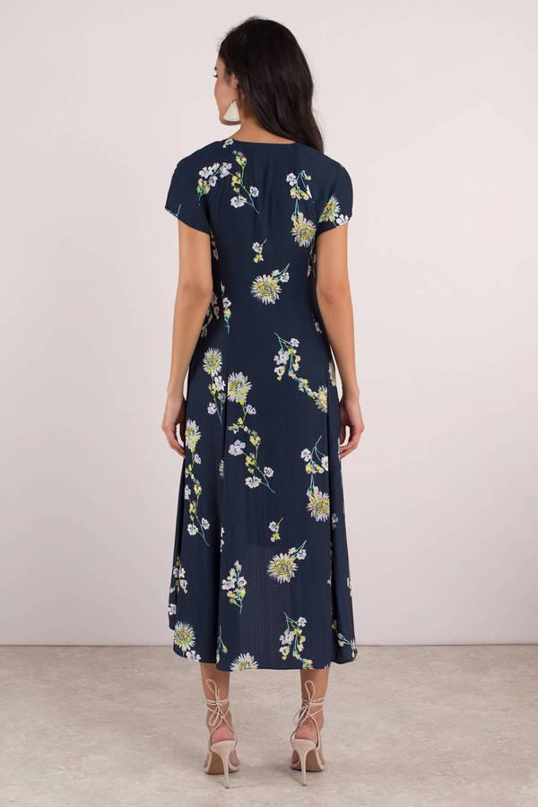 5db2de3df37a Blue Midi Dress - Free People Wrap Dress - Sunflower Dress - Yellow ...