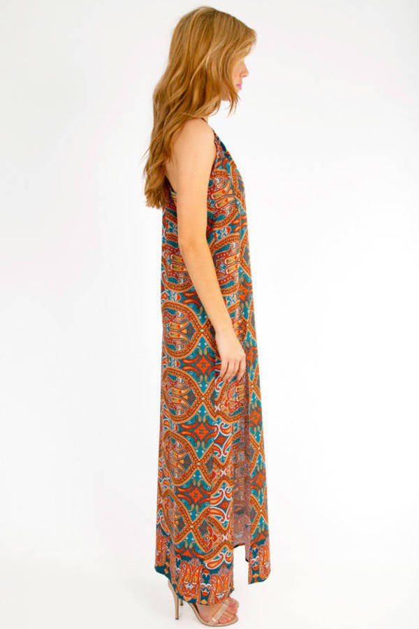 Slitted Paisley Maxi Dress