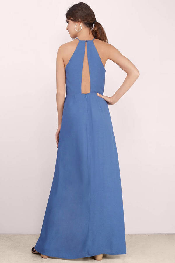 Trendy Blue Dress - Side Slit Dress - Full Dress - Maxi Dress - $18 ...