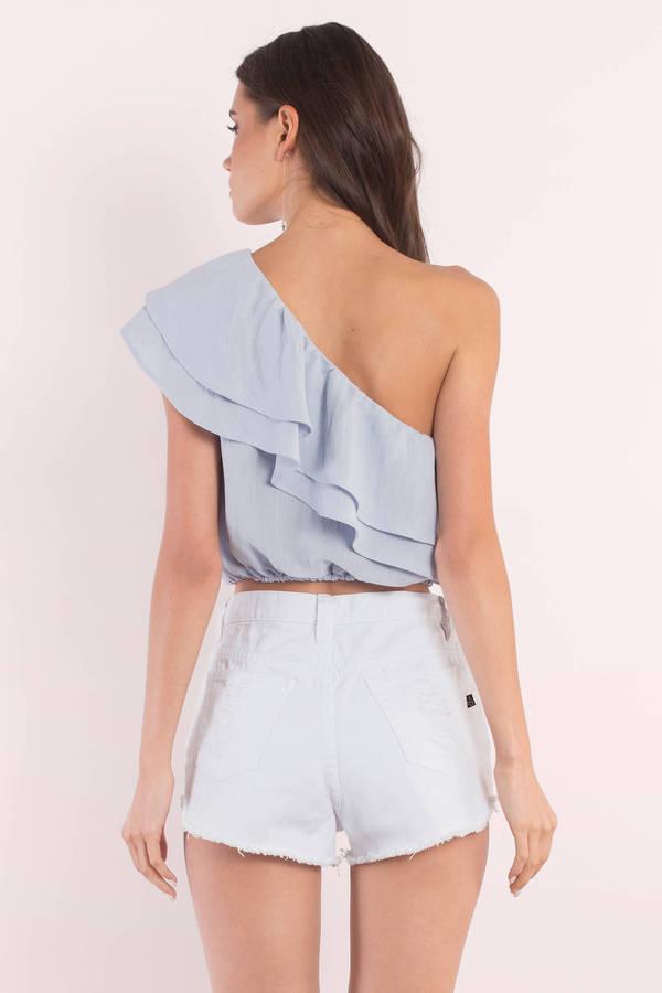 cbe08ab8d7e7f Cute Blue Blouse - One Shoulder Blouse - Blue Blouse - € 12