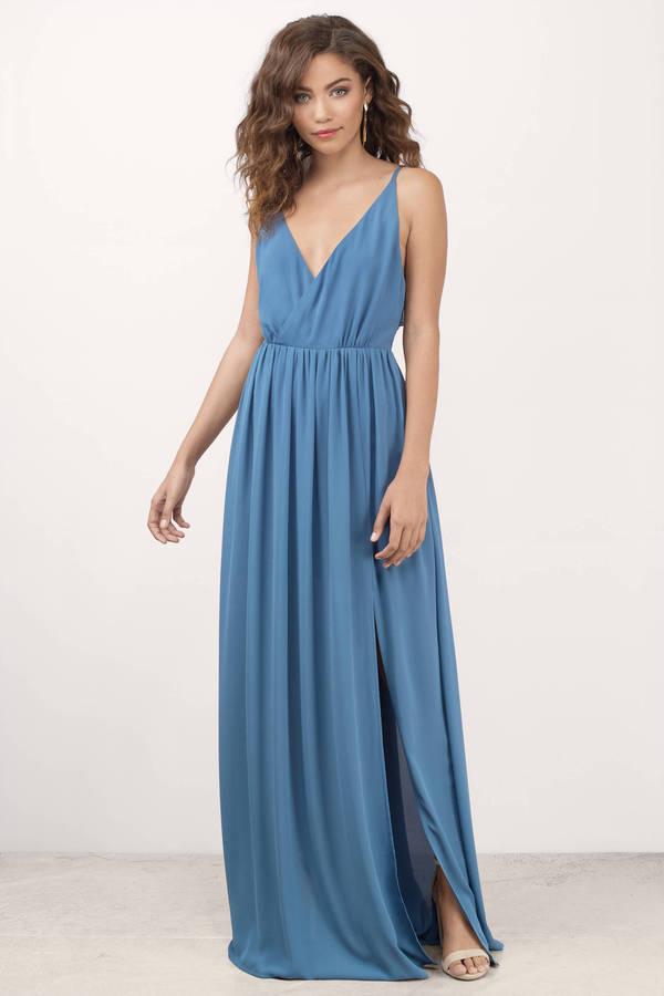 Cute Blue Maxi Dress - Plunging Dress - Blue Dress - $72.00