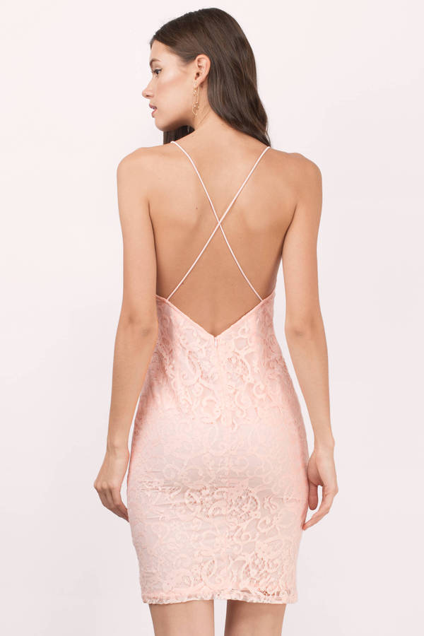 Sexy Blush Bodycon Dress - Plunging Dress - Bodycon Dress - $15 ...