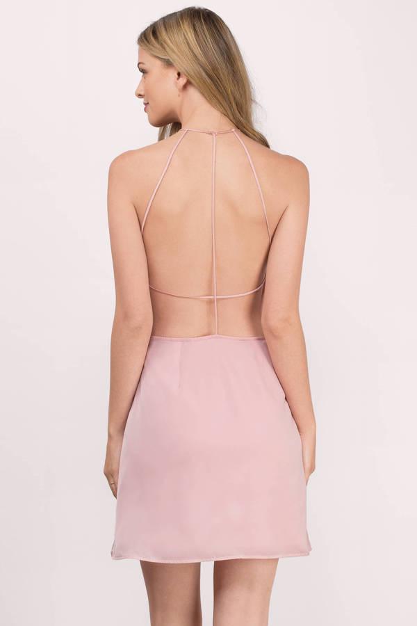 7915e606314 Cute Blush Dress - Halter Dress - Blush Skater Dress - Skater Dress ...