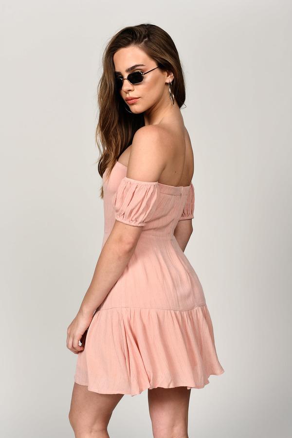8c2529a55eb2 Blush Pink Skater Dress - Blush Pink Bardot Skater Dress - $23 | Tobi US