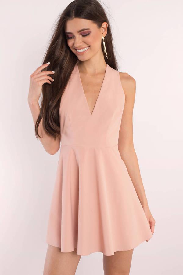 74626c36786e2 Cute Blush Skater Dress - Open Back Dress - Pink Flare Dress - $29 ...
