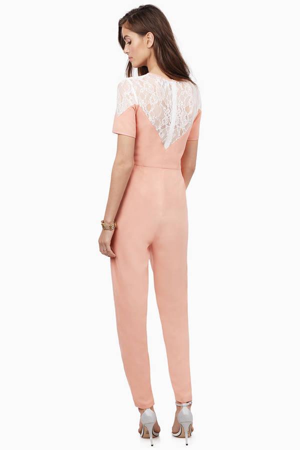 Blush & Ivory Jumpsuit - Pink Jumpsuit - Lace Jumpsuit - $12.00
