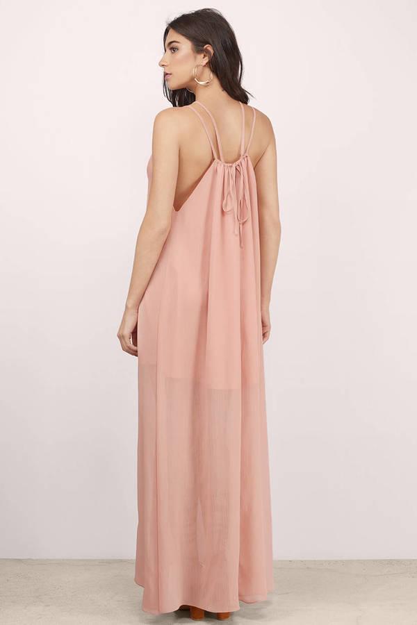 Trendy Blush Pink Maxi Dress - Long Dress - Blush Pink Strappy Dress ...