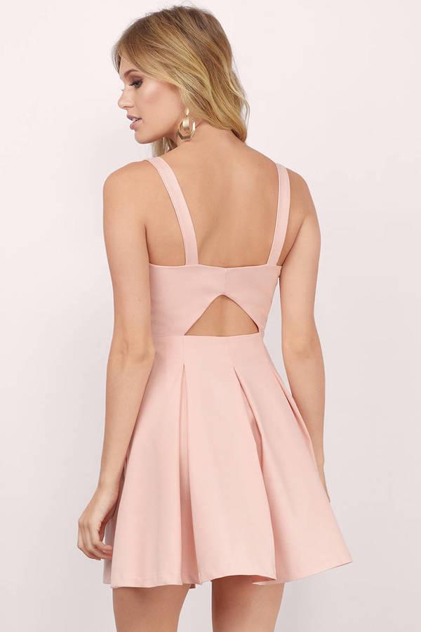 6e390dabe481 Trendy Blush Skater Dress - Front Tie Dress - Skater Dress -  15 ...