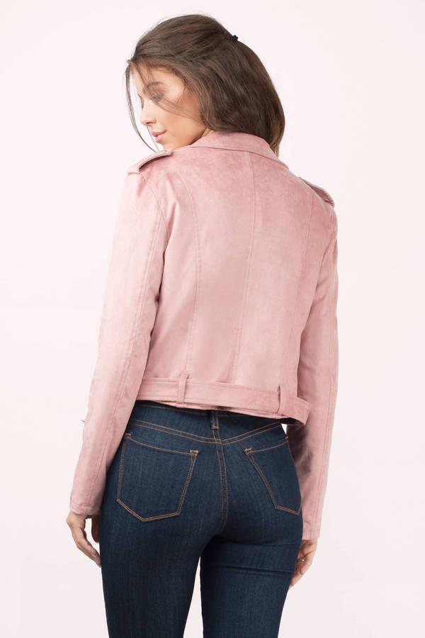 Blush Jacket Pink Jacket Moto Jacket Faux Suede