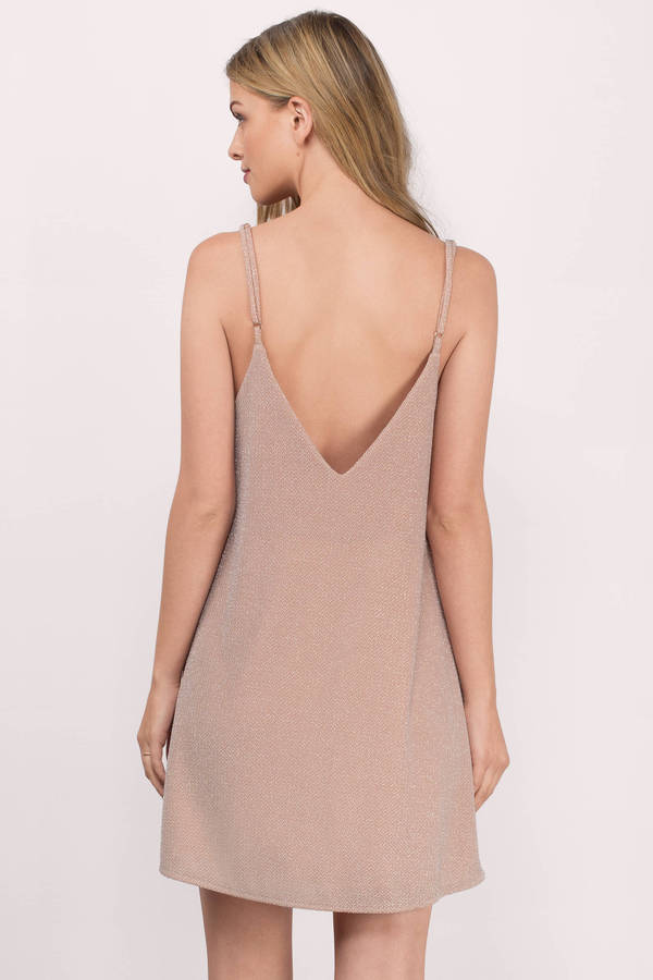 Cute Blush Shift Dress - Pink Dress - Metallic Dress - $22.00