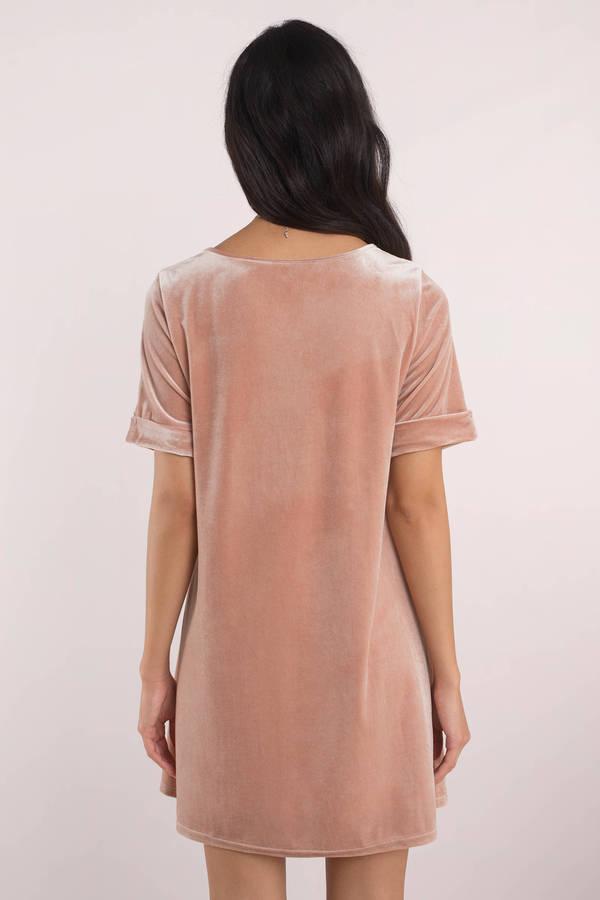 c8cf31b3bba Blush Pink Shift Dress - Velvet T Shirt Dress - Blush Pink Day Dress ...
