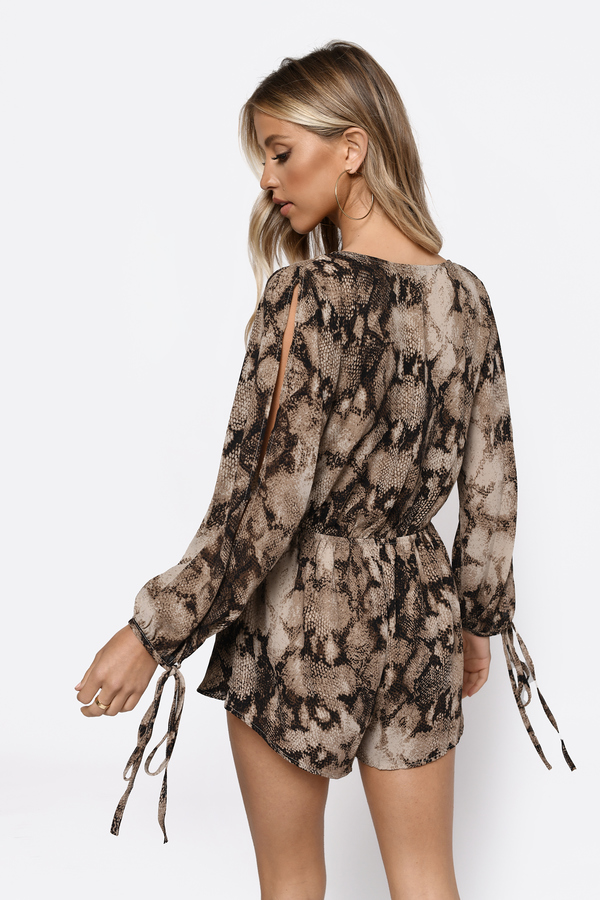 61bd396759b1 Brown Romper - Slit Sleeve Romper - Brown Snakeskin Print - Plunging ...