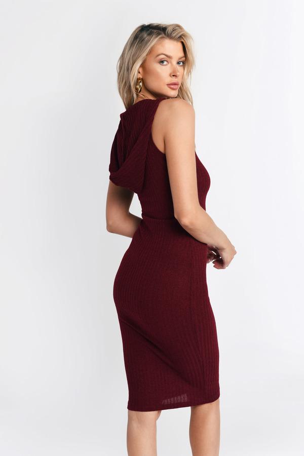 abedfa75e Cute Black Dress - Ribbed Dress - Sleeveless Hooded Dress - Day ...