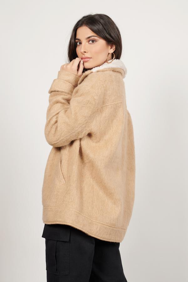 Trendy Camel Coat - Brown Coat - Shearling Coat - Camel Coat - $32 ...