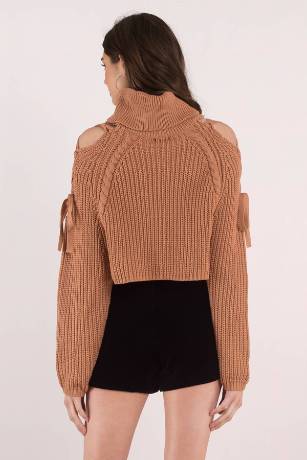 d067e9cc07 Cute Tan Sweater - Cropped Ribbed Sweater - Tan Turtle Neck Knit ...