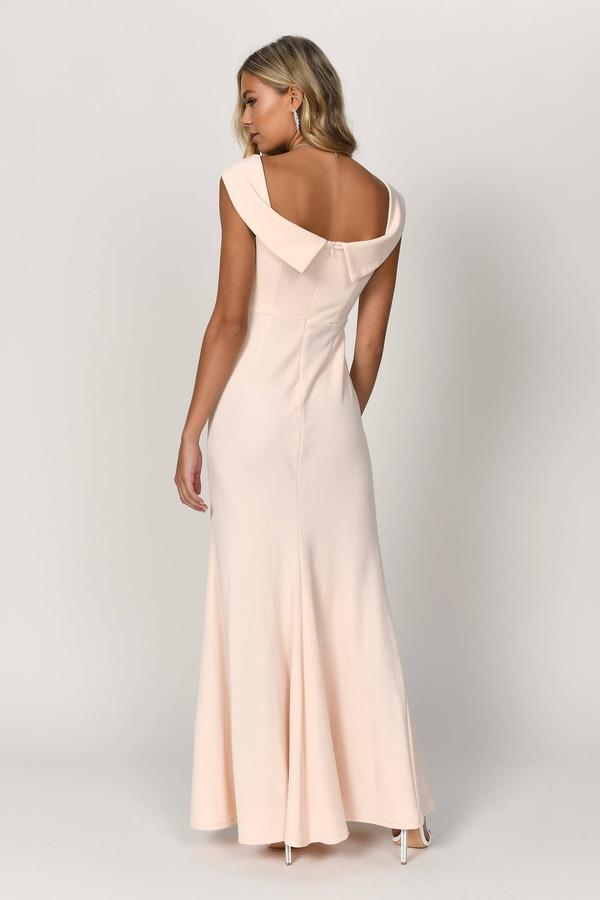 1c899af6a2 Champagne Maxi Dress - Formal Evening Dress - Champagne Strapless ...