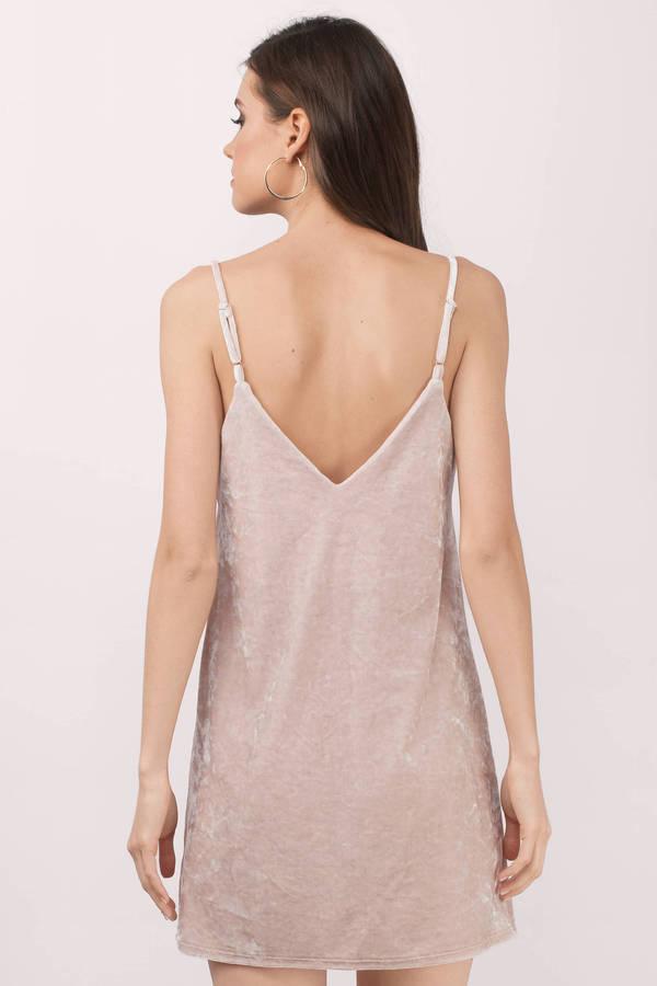 Cute Champagne Shift Dress - Plunging Dress - Pink Dress - $64.00