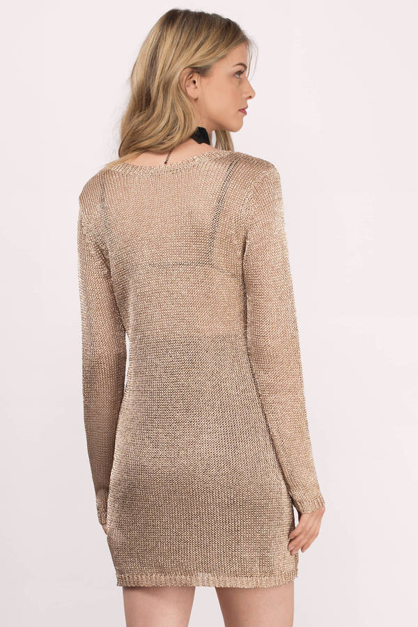 Trendy Champagne Day Dress - Pink Dress - Metallic Dress - $59.00