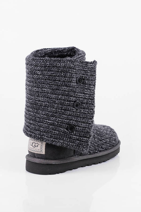 ... UGG Grey Classic Cardigan Knit Sheepskin Boots ...