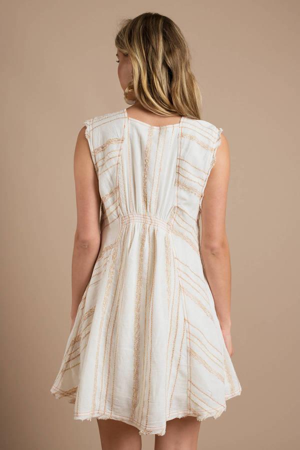 New Country Mini >> Cute Cream Mini Dress - Smock Dress - Cream Flowy Dress - $76   Tobi US