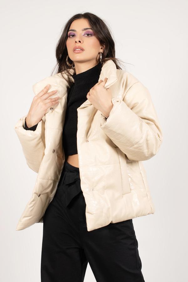 Lanie Faux Croc Leather Puffer Jacket
