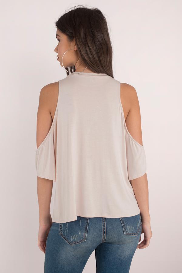 7b731cd0c01122 Cream Blouse - Cold Shoulder Blouse - Half Shoulder Tops -  5