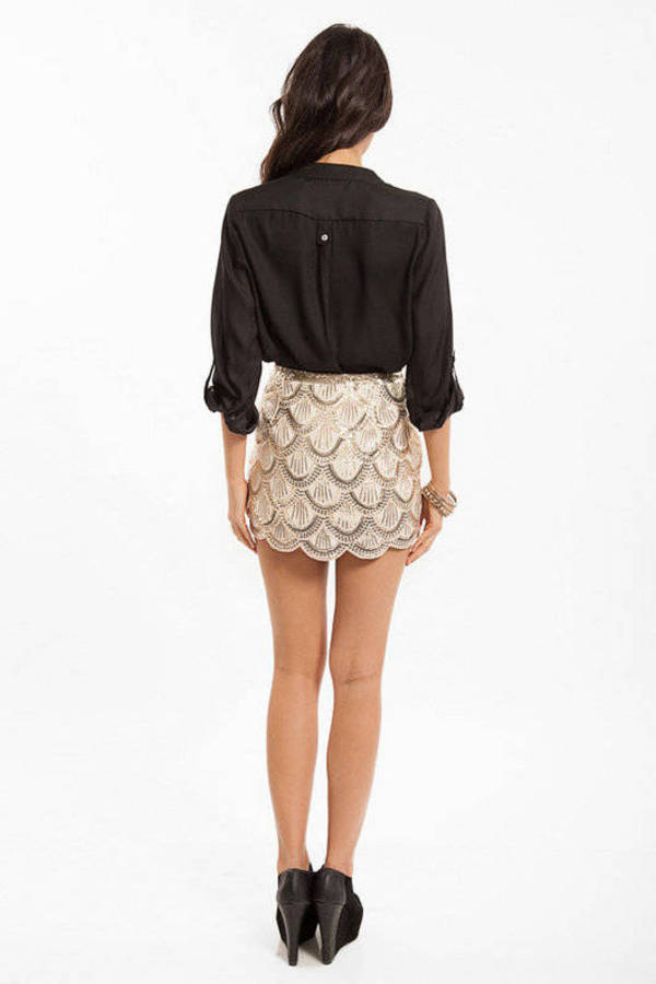 Scallops and Sequins Skirt