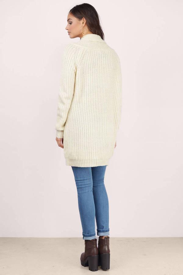 Cream Cardigan - Long Sleeve Cardigan - Cream Sweater - $17 | Tobi US