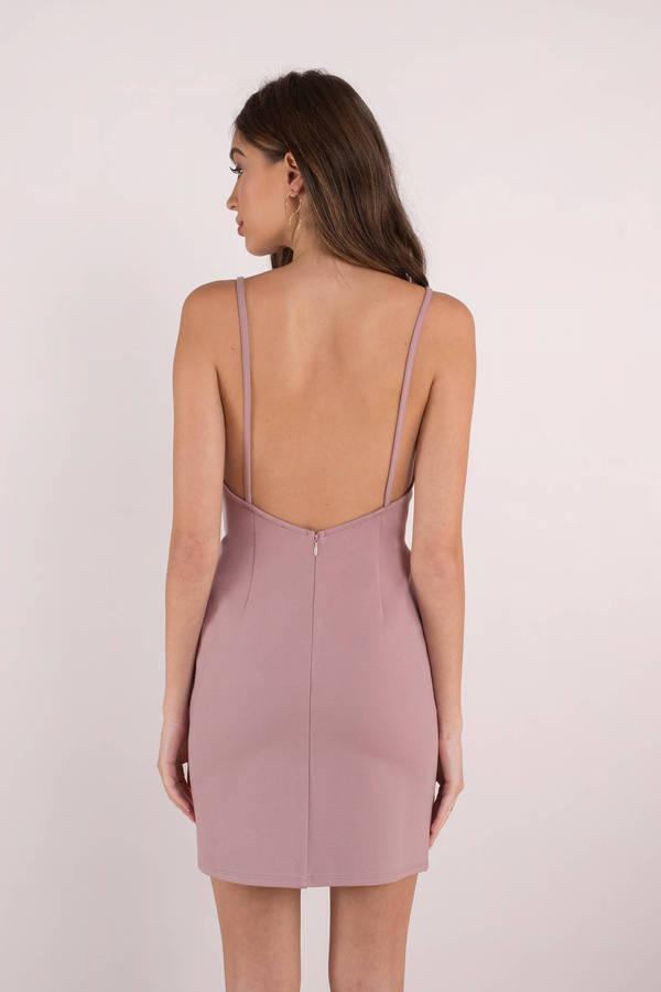 Sexy Rose Pink Bodycon Dress - Deep V Dress - Low Back Bodycon - $36 ...