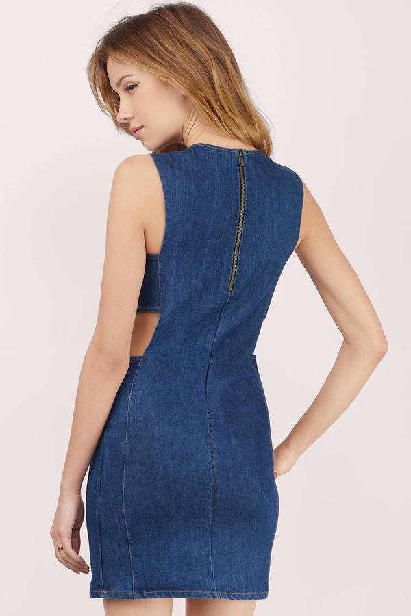 bc5f3f13f6e Dark Wash Dress - Blue Dress - Denim Chambray Dress - Bodycon Dress ...