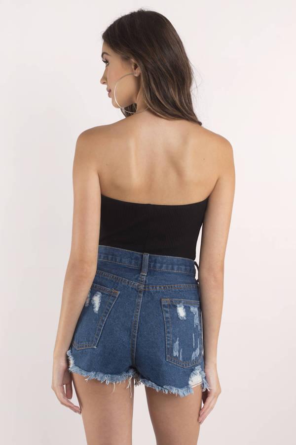 Candice Dark Wash High Rise Distressed Denim Shorts - $72.00 | Tobi
