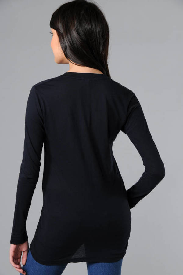 65422ca8a08fb5 Dark Blue James Perse Tee - Casual Tee - Dark Blue Deep V Tee - $75 ...