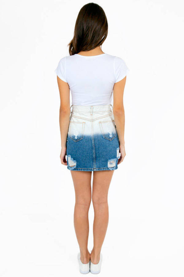 MINKPINK Bleach Out Denim Skirt