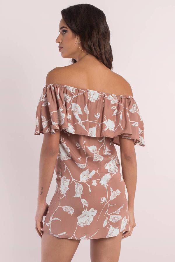 d54092d79dfd Sexy Pink Dress - Off The Shoulder Dress - Floral Printed Dress - S ...
