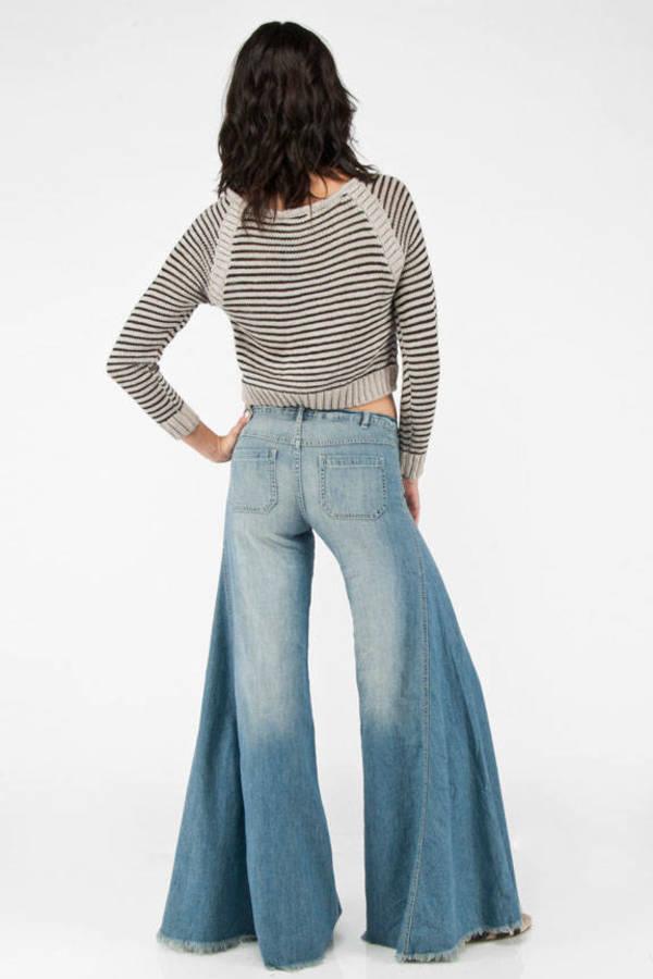 Blue Jeans - Disco Jeans - Blue Light Wash Bell Bottom ...