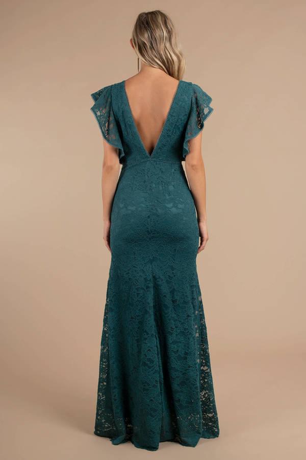 Green Maxi Dress Flutter Sleeve Dress Green Formal Dress Deep