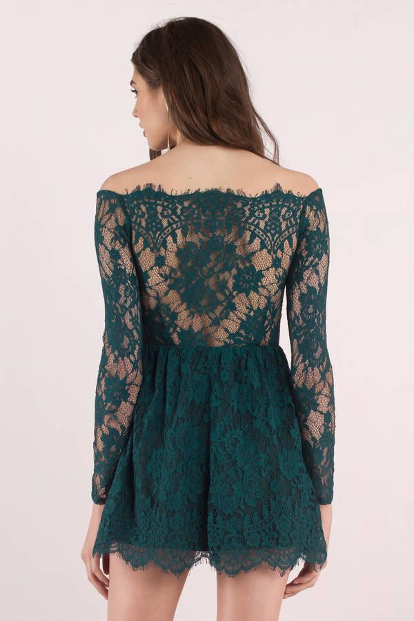 8f33d818d157 Green Skater Dress - Lace Off Shoulder Dress - Beautiful Green Dress ...