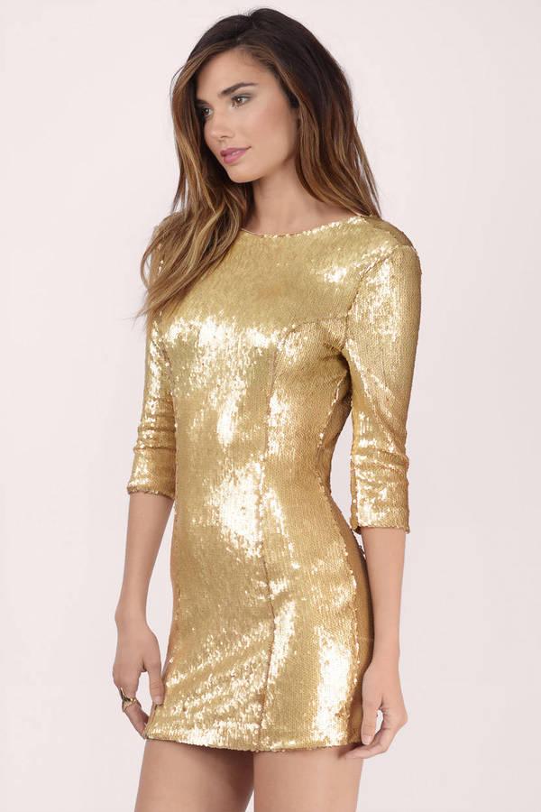 18480610b9 Cute Gold Dress - Sequin Dress - Metallic Gold Dress - Bodycon Dress ...