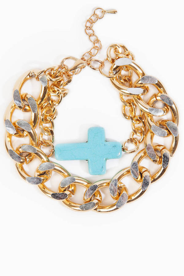 Curb Chain Cross Bracelet